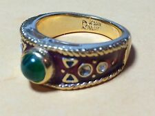 JOAN RIVERS GOLD TONE ENAMAL WOMANS RING WITH MULTI STONES - Size 8.25