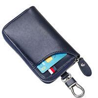Dark Blue Mens Genuine Leather Key Holder Case Car Smart Key Bag Hanger Wallet