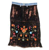 Anthropologie Ruth Velvet Skirt Embellished Floral Tiered Size M