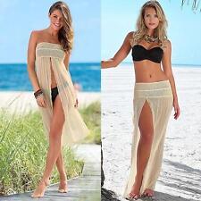 Women Lady Bikini Swimwear Cover Up Beach Dress Mesh Hollow Crochet Slit Skirt