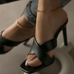 Womens Sexy Summer Peep Toe Mules Party Shoe High Heels Sandals Slipper Stiletto
