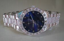 Men's Silver finish bling blue dial fashion dressy/casual wrist watch
