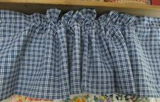 """3 Blue and white check plaid Valance 70"""" x 14.5"""" rod pocket 3"""" deep made in USA"""
