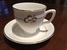 Diamond Fine Bone China Clover / Shamrock pattern Tea Cup & Saucer White Gold