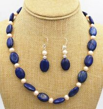 Fashion Freshwater White pearl blue lapis lazuli Silver necklace Earrings PN293