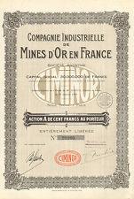 Compagnie Industrielle de Mines d' Or en France SA, accion, 1928