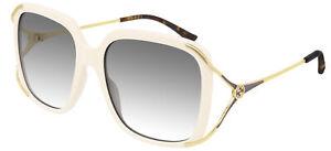 Occhiali da Sole Gucci GG0647S Ivory/Grey Shaded 56/18/130 donna