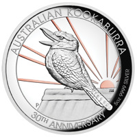 2020 5oz Australian Kookaburra Silver Proof HR Gold Gilded 30th Anniversary Coin