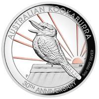 2020 5oz Australian Kookaburra Silver Proof HR Gold Gilded 30th Anniversary Coin