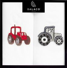 Tractor hankerchiefs red and grey tractors on white 100% cotton farming gift