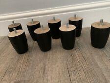 4x Black Wood Drawers Furniture Legs