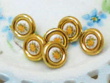 #934 Vintage Glass buttons Japan Button Flowers Limoges One of kind  5/8 NOS NEW