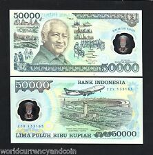 INDONESIA 50000 RUPIAH P-134 1993 COMMEMORATIVE POLYMER UNC SUHARTO PLANE NOTE