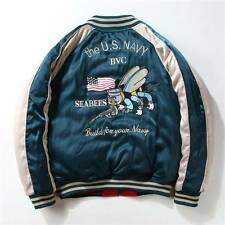 New Sukajan Bee Crane Embroidery Souvenir Jacket (L) Reversible Bomber MA-1 K1