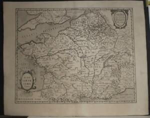 ANCIENT FRANCE 1636 JAN JANSSON UNUSUAL ANTIQUE ORIGINAL COPPER ENGRAVED MAP