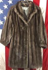 Vtg Mary McFadden Natural Ranch Mink Coat Fur Brown Posh Outerwear Evening NICE