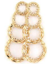 Gold Tone Crystal Stud Circle Design Post Earrings #E10