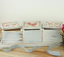 Set of 3 Vintage Style Memory Boxes & Tray