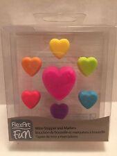 Heart Wine Stopper & Markers Set Flex Art Fun Rainbow Silicone Valentines Day