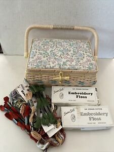 Vintage Azar Sewing Basket Woven Plastic Tray Divider Embroidery Floss Organizer