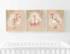 Swan Floral Personalised Trio Set of 3 Name Picture Nursery Print Gift UNFRAMED