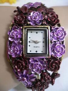 New Women Bracelet Quartz Watch Rusty Gold Burgundy & Purple Color Small Lizard