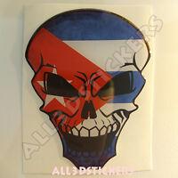 Pegatina Calavera Bandera Cuba Adhesivo Relieve Coche Moto Skull Tablet 3D