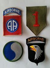 Lot de 4 Patch US 1st - 29th Infantry div 82nd - 101st Airborne Normandie REPRO