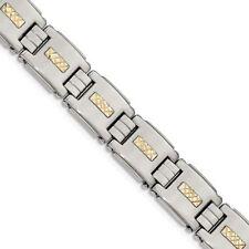 Gold Link Bracelet Msrp $415 Chisel Stainless Steel Polished with 14K