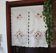 Beautiful 3D Silk Ribbon Flower Hand Embroidery Cutwork Door Café Curtain