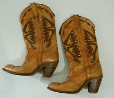 VTG MISS CAPEZIO Tan Leather Butterfly Boots SZ 7.5 Cowboy Cowgirl boots 70s 80s