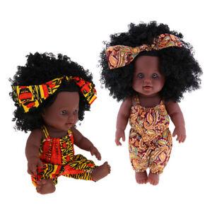 "2pcs Lifelike Vinyl Reborn 12"" African American Baby Doll - Black Curly Hair"