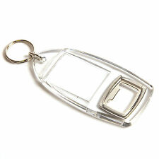 10 QUALITY BLANK CLEAR KEYRING BOTTLE OPENERS (40 x 32)