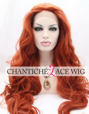 Synthetic Hair Wigs Copper Red Long Wavy Glueless Synthetic Lace Front Wigs #360