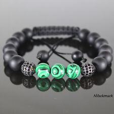 Herren Malachit Shamballa Armband mit Zirkon Perlen Onyx Perlen für Männer