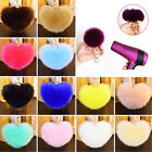 Rabbit Fur Heart Shape Ball PomPom Charm Car Keychain Handbag Pendant  Key Ring