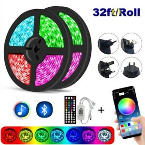 20M Flexible 5050 LED Strip Lights Bluetooth 32FT 10M Music Sync Remote DC Kits