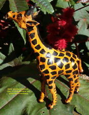 GIRAFE STATUETTE DE COLLECTION FABRICATION ARTISANALE EN CUIR  *