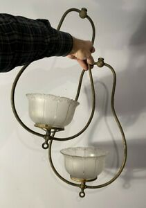 Pair antique vtg Victorian gas light fixture harp parts Gillinder shades unrest.