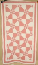 WELL QUILTED Vintage 30's Hearts & Gizzards Antique Crib Quilt ~GREAT DESIGN!