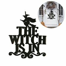 Halloween Ornaments The Witch Is In Black Door Hanging Decoration for Party