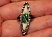 Gorgeous Old Navajo Handmade Sterling Silver & Malachite Stone & Shell Ring