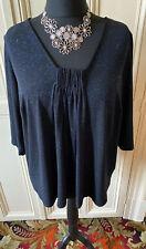 Ann Harvey Ladies Plus Size 20-22 (2) Black Blouse Top Blue Sparkle Detail