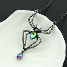 Spider Crystal Gothic Punk Retro Pendant Necklace Vintage Halloween Hot