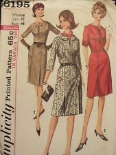 Fab VTG 65 SIMPLICITY 9383 Wmns Sleeve/Neckline Variation Dress PATTERN 42/44B
