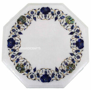 "12"" Table Top Marble lapis Lazuli Inlay Floral Handmade Home & Garden Decor"