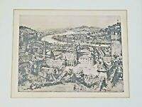 Antique Etching Of Salzburg Austria Signed Herman Bergmeister Artist 1868-1938