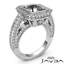 Diamond Engagement Emerald Halo Bezel Set Ring 14k White Gold Semi Mount 2.25Ct
