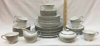 Dishes Set Empress China White w/ Silver Trim Platina 50 Pieces Plates Bowls Cup