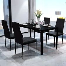 5 / 7 PC Dining Table Furniture Set Black Glass Top Leather Chairs Kitchen Room